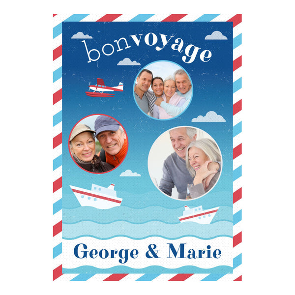 By Boat or By Plane Poster <br/> with spaces for 3 photos and your name or message  Personalisable Poster Hello Party - All you need to make your party perfect! - Hello Party