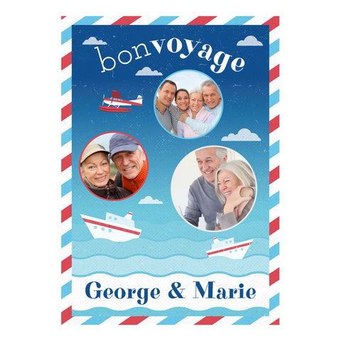 By Boat or By Plane Banner <br/> with spaces for 3 photos and your name or message - Hello Party - All you need to make your party perfect!