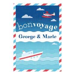 By Boat or By Plane Poster <br/> with a space for your name or message  Personalisable Poster Hello Party - All you need to make your party perfect! - Hello Party