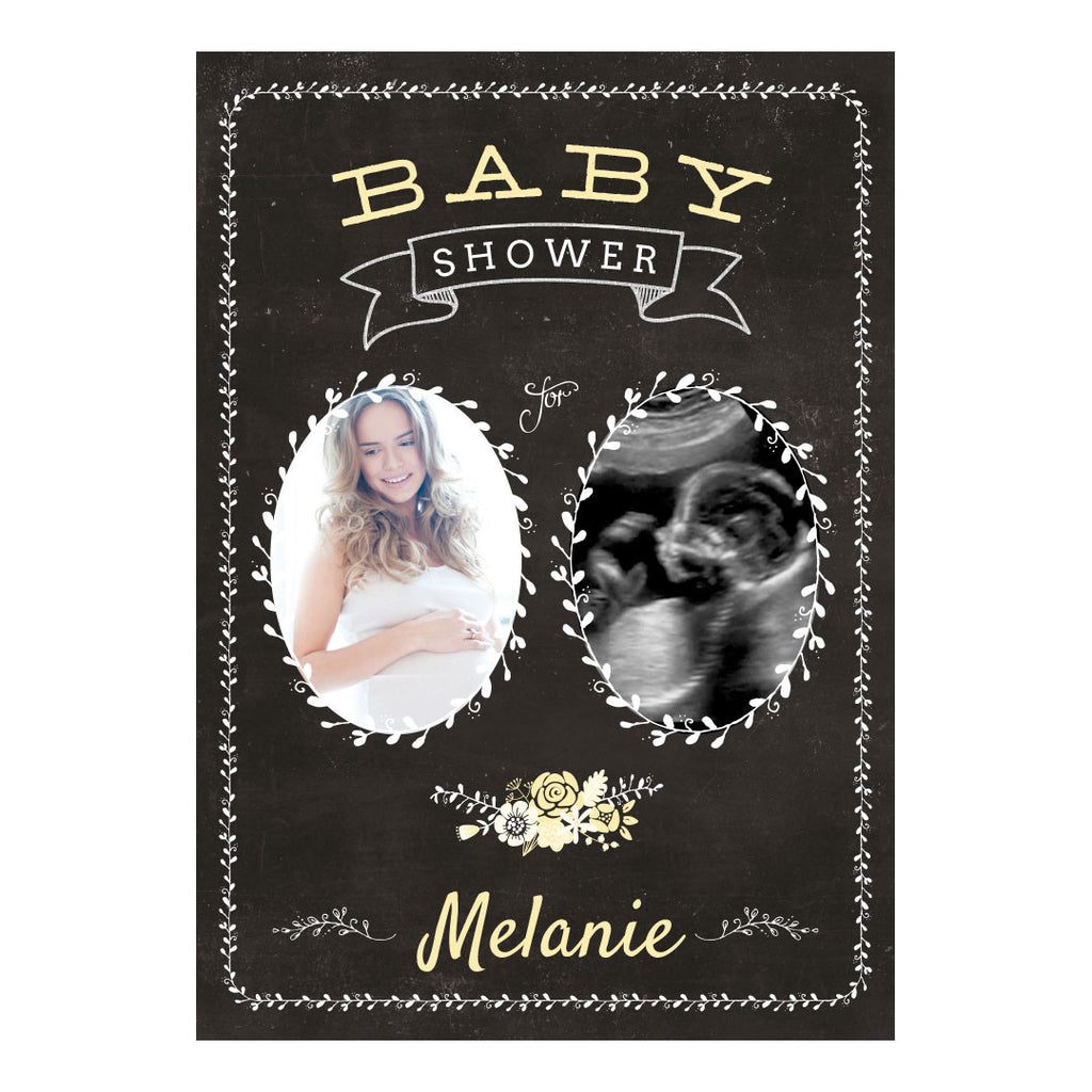 Blackboard Baby Shower- Yellow Banner <br/> with spaces for 2 photos and your name or message - Hello Party - All you need to make your party perfect!