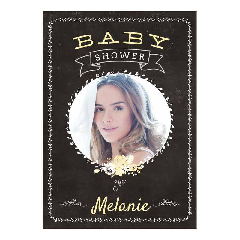 Blackboard Baby Shower Yellow Poster <br/> with a space for 1 photo and your name or message  Personalisable Poster Hello Party - All you need to make your party perfect! - Hello Party