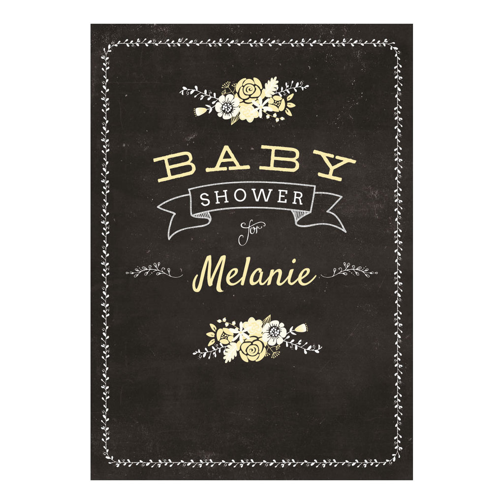 Blackboard Baby Shower Yellow Banner <br/> with a space for your name or message - Hello Party - All you need to make your party perfect!
