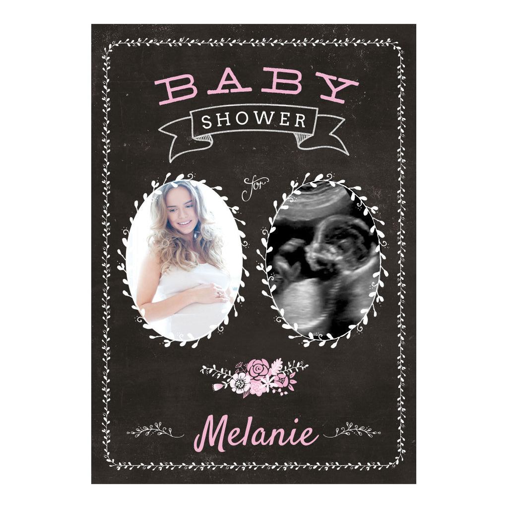 Blackboard Baby Shower- Pink Banner <br/> with spaces for 2 photos and your name or message - Hello Party - All you need to make your party perfect!