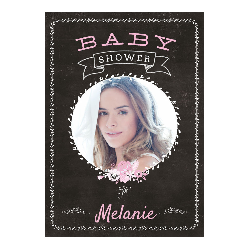 Blackboard Baby Shower Pink Banner <br/> with a space for 1 photo and your name or message - Hello Party - All you need to make your party perfect!