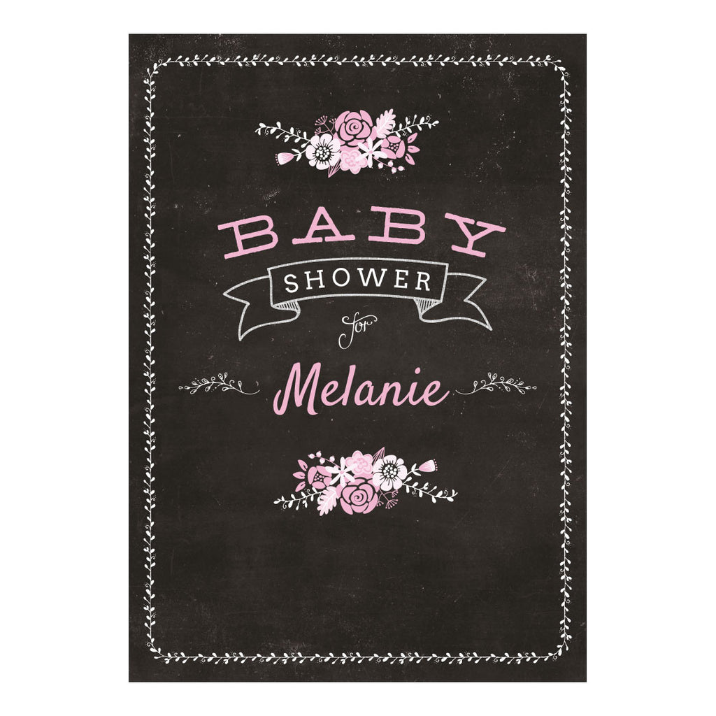 Blackboard Baby Shower Pink Poster <br/> with a space for your name or message  Personalisable Poster Hello Party - All you need to make your party perfect! - Hello Party