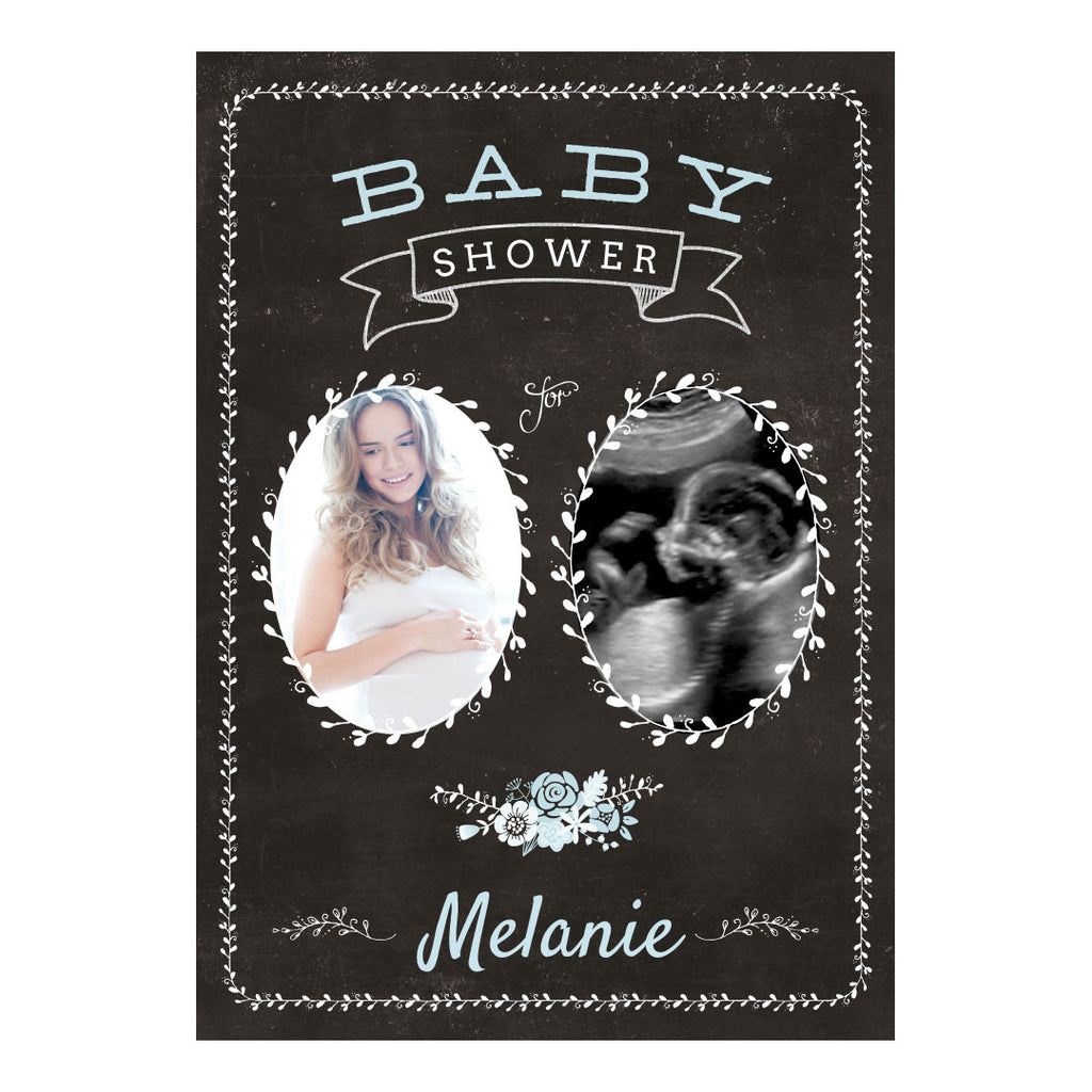 Blackboard Baby Shower- Blue Banner <br/> with spaces for 2 photos and your name or message - Hello Party - All you need to make your party perfect!