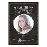 Blackboard Baby Shower Blue Banner <br/> with a space for 1 photo and your name or message - Hello Party - All you need to make your party perfect!