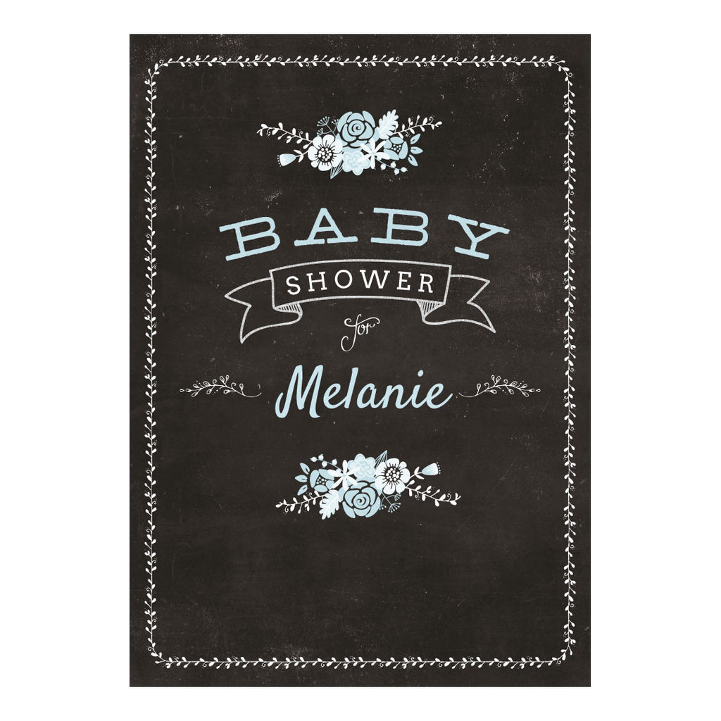 Blackboard Baby Shower Blue Banner <br/> with a space for your name or message - Hello Party - All you need to make your party perfect!