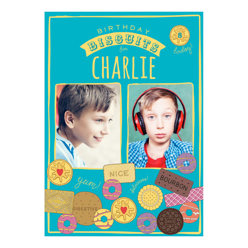 Birthday Biscuits Poster <br/> with spaces for 2 photos and your name or message  Personalisable Poster Hello Party - All you need to make your party perfect! - Hello Party