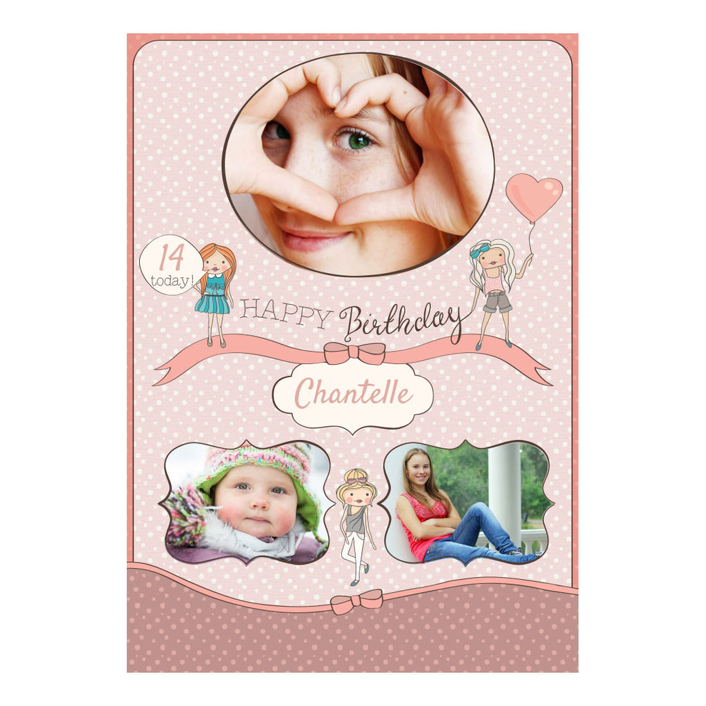Birthday BFFs Poster <br/> with spaces for 3 photos and your name or message  Personalisable Poster Hello Party - All you need to make your party perfect! - Hello Party