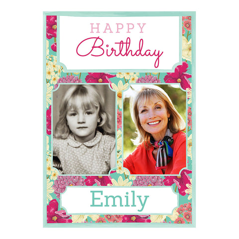 Big & Bright Birthday Blooms Poster <br/> with spaces for 2 photos and your name or message  Personalisable Poster Hello Party - All you need to make your party perfect! - Hello Party