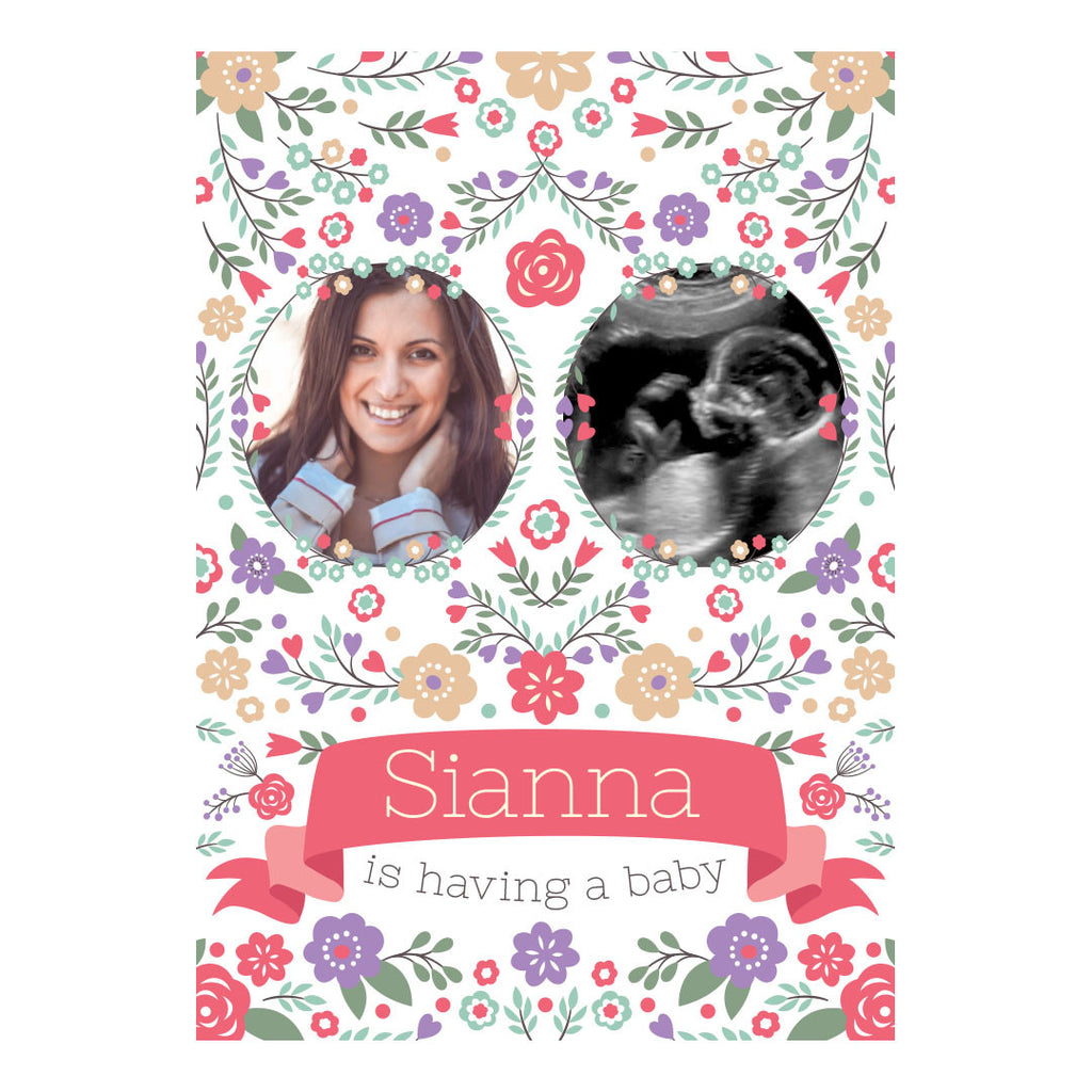 Baby Shower Flowers Banner <br/> with spaces for 2 photos and your name or message - Hello Party - All you need to make your party perfect!