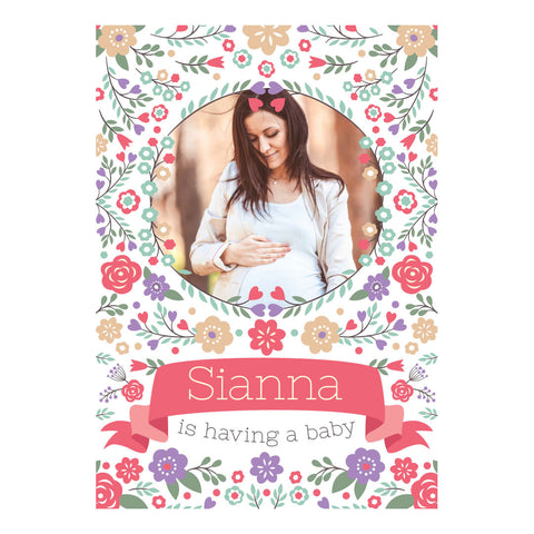 Baby Shower Flowers Banner <br/> with a space for 1 photo and your name or message - Hello Party - All you need to make your party perfect!