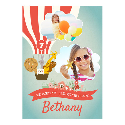 Animal Balloon Trip Party Poster <br/> with spaces for 2 photos and your name or message  Personalisable Poster Hello Party - All you need to make your party perfect! - Hello Party