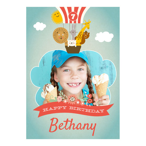 Animal Balloon Trip Party Banner <br/> with a space for 1 photo and your name or message - Hello Party - All you need to make your party perfect!