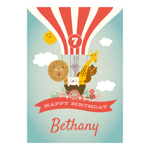Animal Balloon Trip Party Poster <br/> with a space for your name or message  Personalisable Poster Hello Party - All you need to make your party perfect! - Hello Party