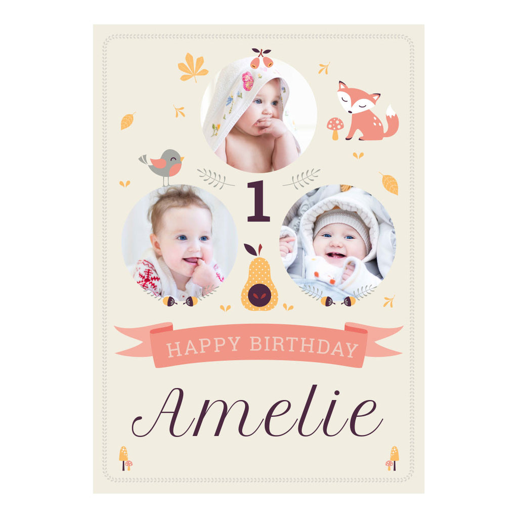 1st Birthday Forest Poster <br/> with spaces for 3 photos and your name or message