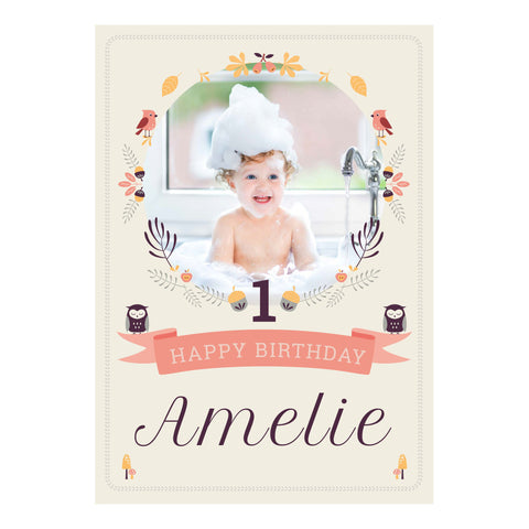1st Birthday Forest Banner <br/> with a space for 1 photo and your name or message - Hello Party - All you need to make your party perfect!