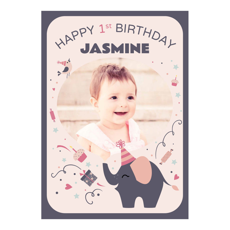 Elephant Party Popper Poster <br/> with a space for 1 photo and your name or message  Personalisable Poster Hello Party - All you need to make your party perfect! - Hello Party