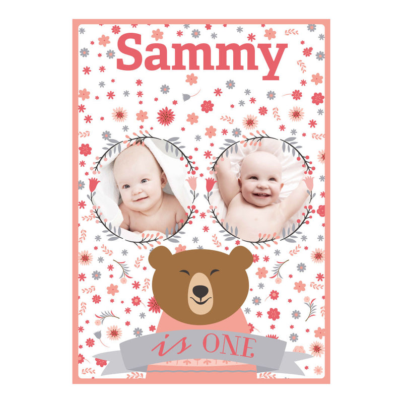 Bears & Flowers Poster <br/> with spaces for 2 photos and your name or message  Personalisable Poster Hello Party - All you need to make your party perfect! - Hello Party