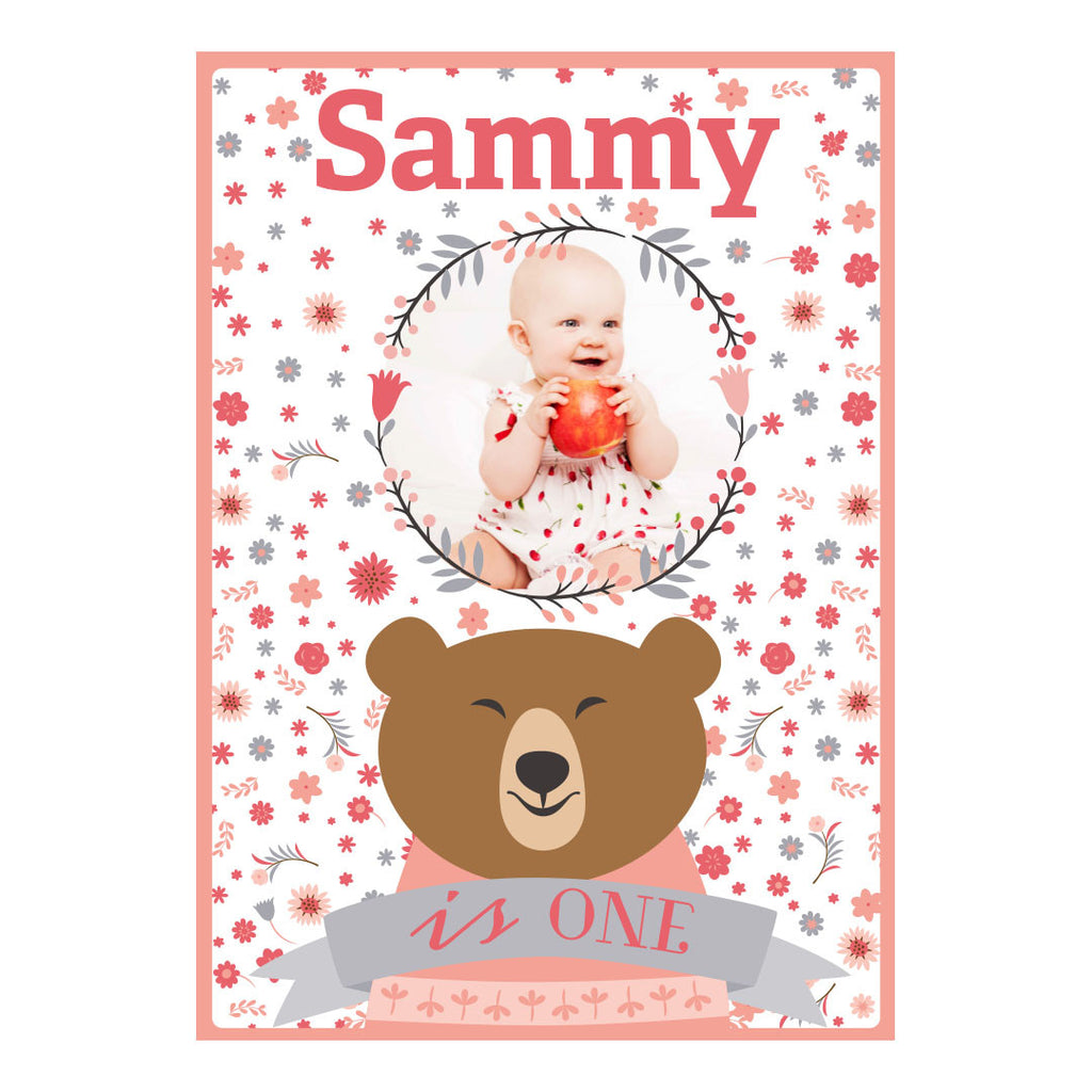 Bears & Flowers Banner <br/> with a space for 1 photo and your name or message - Hello Party - All you need to make your party perfect!