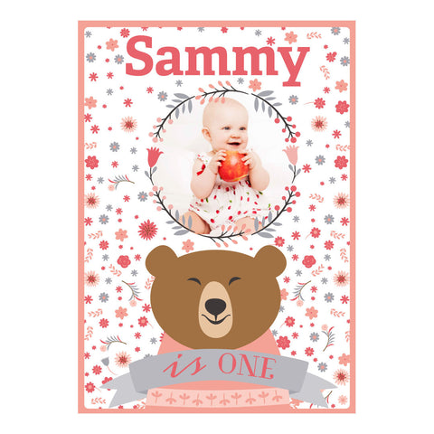 Bears & Flowers Poster <br/> with a space for 1 photo and your name or message  Personalisable Poster Hello Party - All you need to make your party perfect! - Hello Party