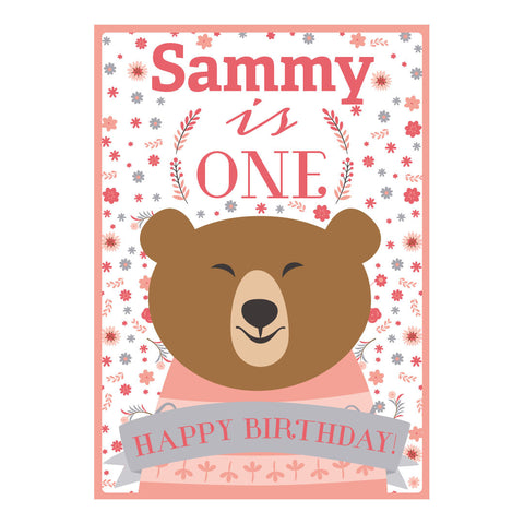 Bears & Flowers Poster <br/> with a space for your name or message  Personalisable Poster Hello Party - All you need to make your party perfect! - Hello Party