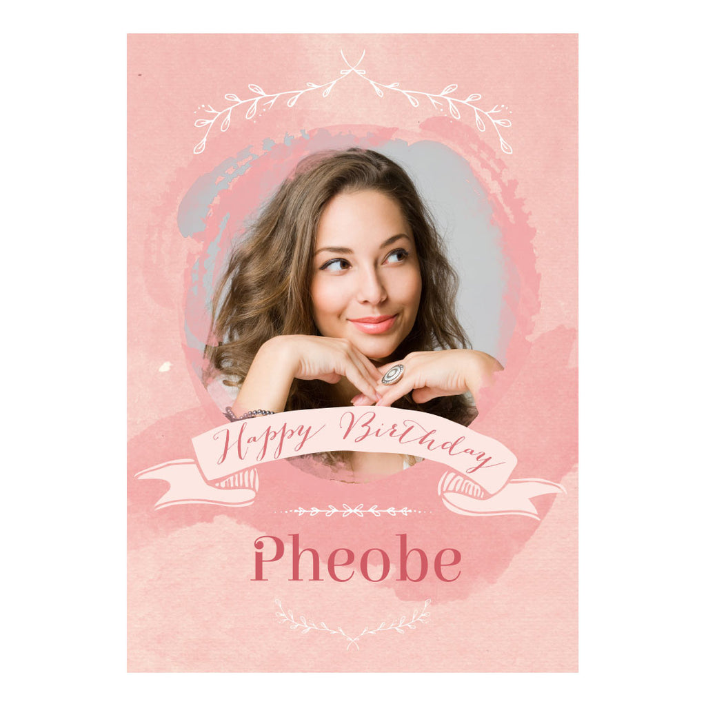 Pretty in Pink Poster <br/> with a space for 1 photo and your name or message