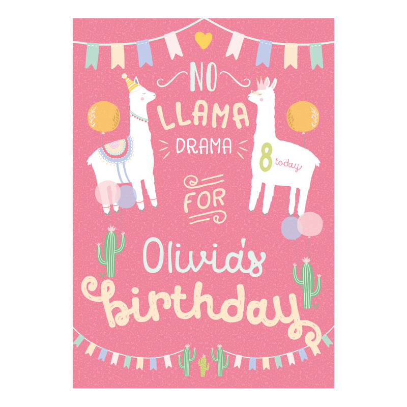 No Llama Drama Party Poster with a space a name and age