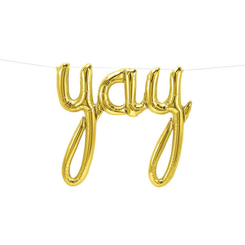 Gold Yay Script Foil Balloon