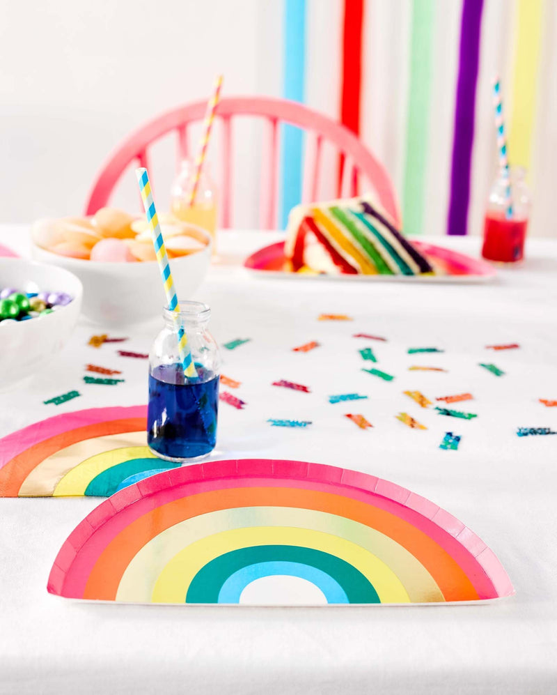 Birthday Brights Rainbow Shaped Plates  Party Plates Talking Tables - Hello Party