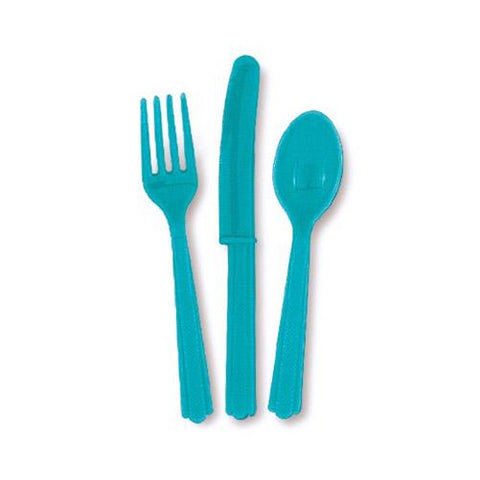 Teal Plastic Cutlery - 18 Piece Set