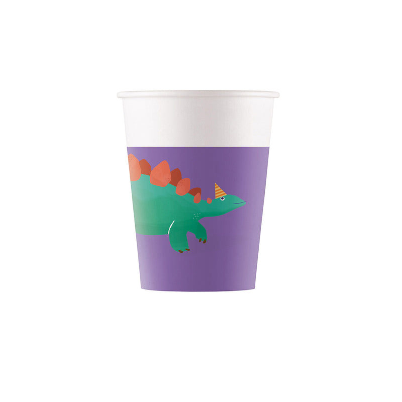 Compostable Dinosaur Roar Paper Cups  Party Cups Qualatex - Hello Party