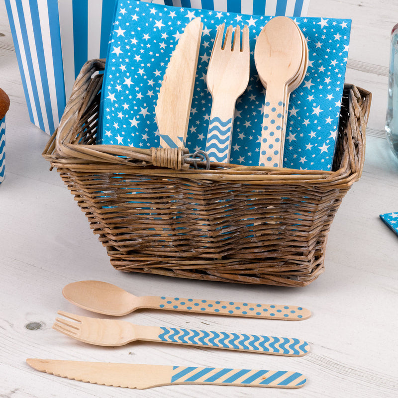 Wooden Cutlery Set - Blue  Party Cutlery HelloPartyUK - Hello Party