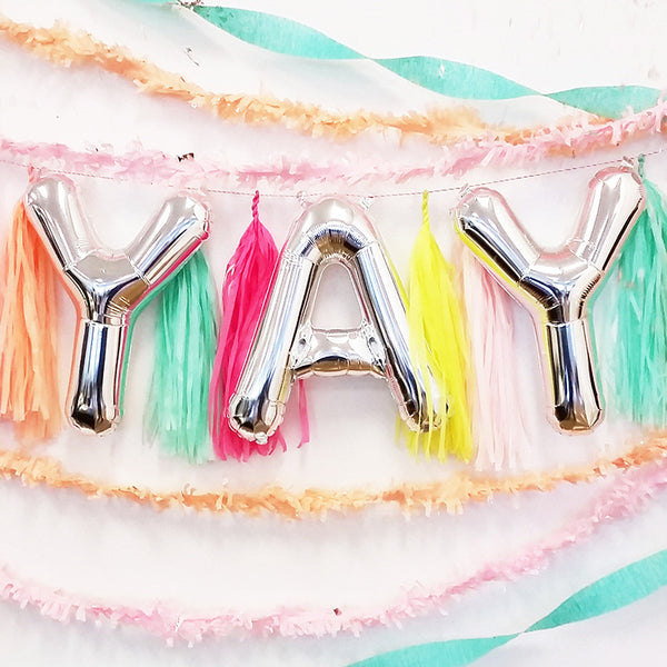 YAY - 16 inch Silver Foil Letter Balloon Pack