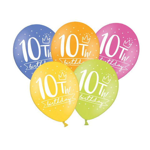10th Birthday Balloon (single)  Printed Latex Balloons Party Deco - Hello Party