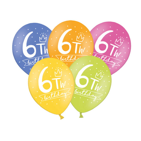 6th Birthday Balloon (single)  Printed Latex Balloons Hello Party Essentials - Hello Party