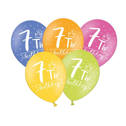 7th Birthday Balloon (single)  Printed Latex Balloons Hello Party Essentials - Hello Party