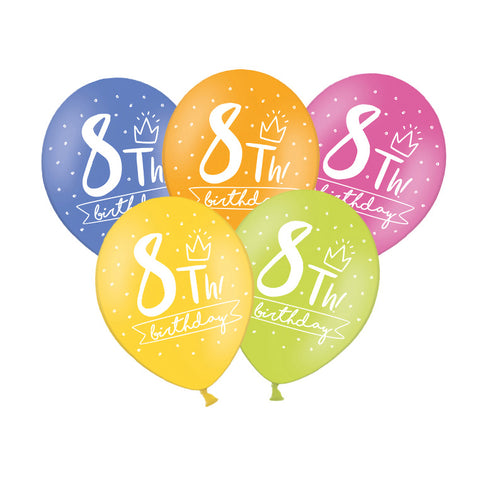 8th Birthday Balloon (single)  Printed Latex Balloons Hello Party Essentials - Hello Party