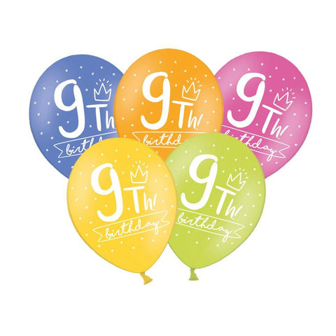 9th Birthday Balloon (single)  Printed Latex Balloons Hello Party Essentials - Hello Party