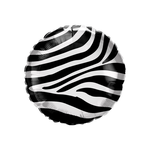Zebra Print Round Foil Party Balloon