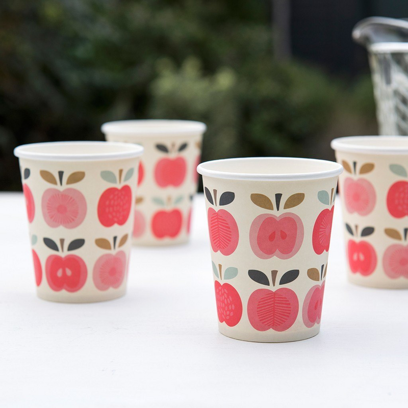 Set 8 Paper Cups Vintage Apple  Party Cups Rex International - Hello Party