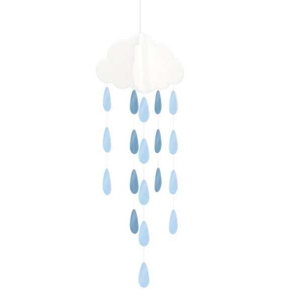 Hanging Clouds and Blue Droplets 2pk Baby Shower Decorations
