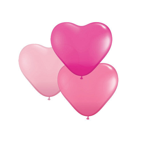Pretty Pink Mix Heart Shaped Balloons (pack of 6)  Heart Shaped Ballloons Hello Party Essentials - Hello Party