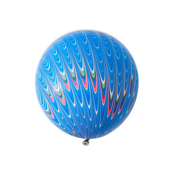 "Big Round Blue Marbled Balloon 18""  Big Round Latex Balloons Hello Party Essentials - Hello Party"