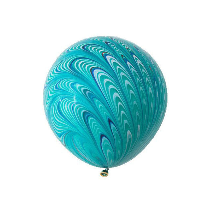 "Big Round Green Marbled Balloon 18""  Big Round Latex Balloons Hello Party Essentials - Hello Party"