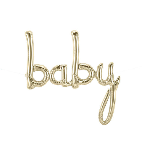 Baby White Gold Script Balloon