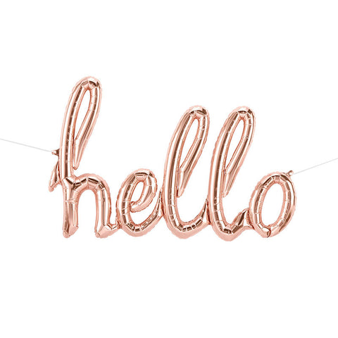Hello Rose Gold Script Balloon