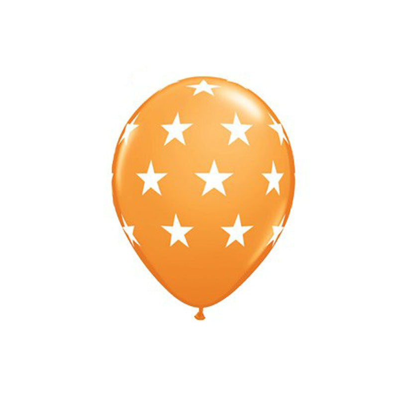 Orange Stars Balloons  Printed Latex Balloons Hello Party Essentials - Hello Party