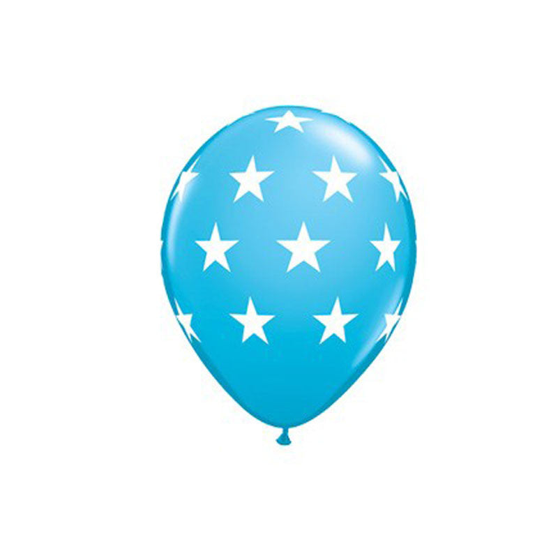 Blue Stars Balloons  Printed Latex Balloons Hello Party Essentials - Hello Party